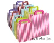"CANDY STRIPE PAPER BLOCK BOTTOM CARRIER BAGS CHILDRENS PARTY - 7"" x 3.5"" x 8.5"""